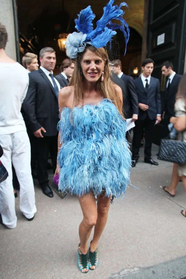 Anna Dello Russo outside Emilio Pucci spring summer 2012 fashion show