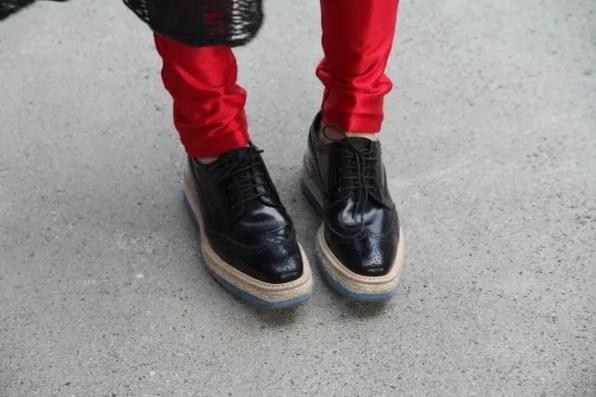Black Prada Flatforms spotted at Formula One Shanghai