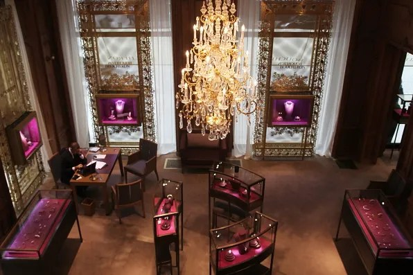 Inside the Boucheron boutique at Place Vendome, Paris