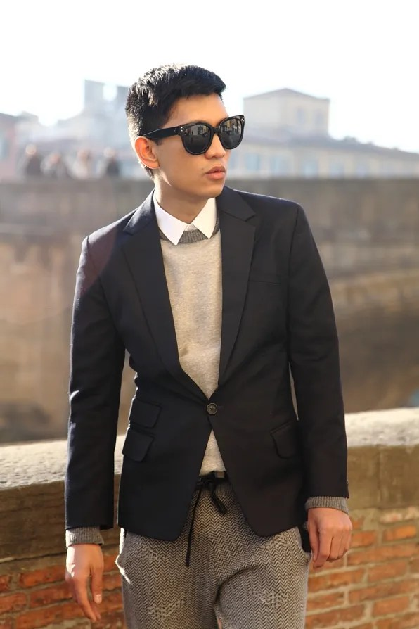 Bryanboy wearing a white shirt, COS sweater and navy blue Filippa K jacket