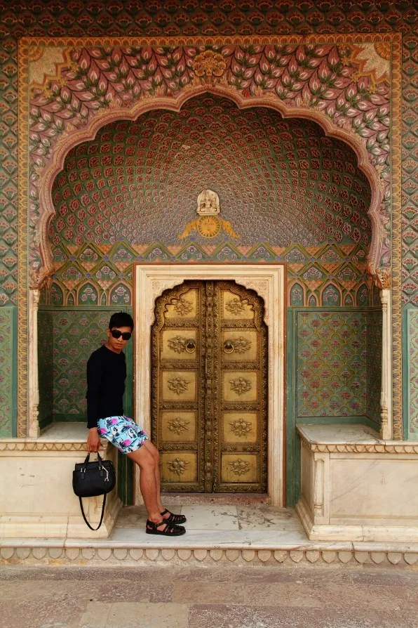Bryanboy and the gold door at City Palace