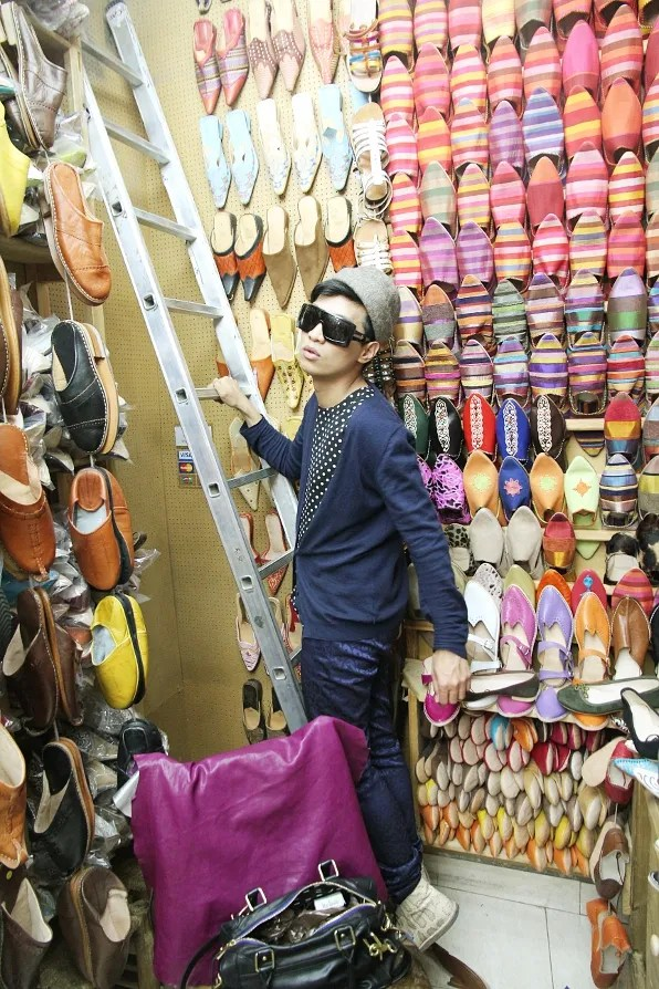 Bryanboy inside a Moroccan baboosh slipper shop