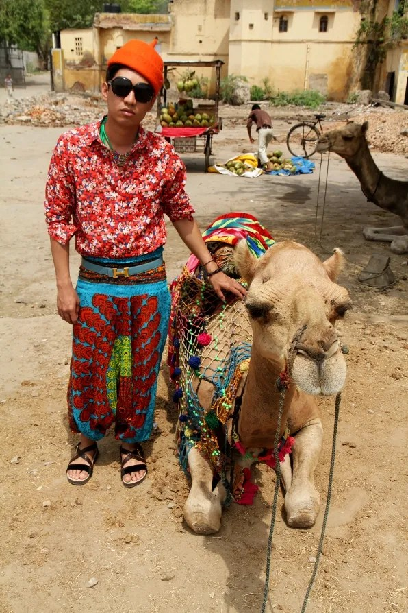 Bryanboy and a camel in Jaipur