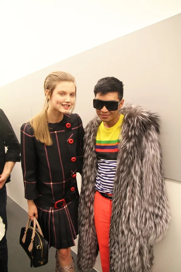 Bryanboy and model Lindsey Wixson backstage at Prada fall winter 2011 show