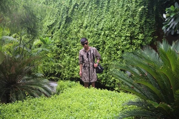 Bryanboy wearing a leopard Valentino RED raincoat in New Delhi.