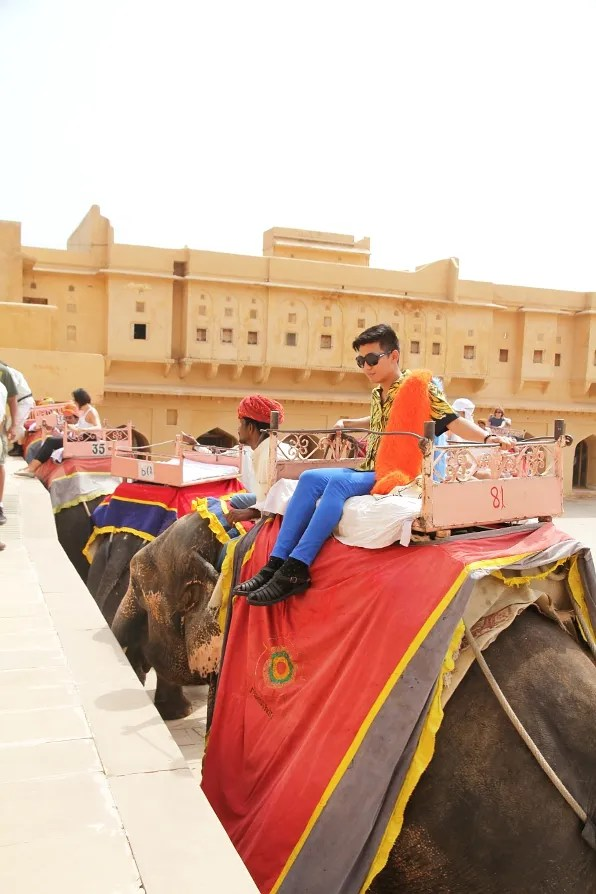 Bryanboy enjoying an elephant ride at the Amber Palace in Jaipur, India