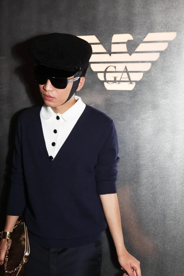 Bryanboy outside Emporio Armani signage Tokyo