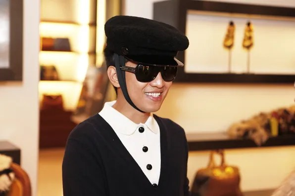 Bryanboy smiling inside the Fendi store, Tokyo