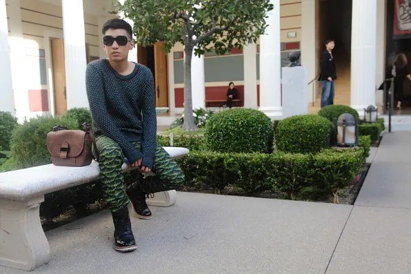 Bryanboy at the Getty Villa inner peristyle garden.