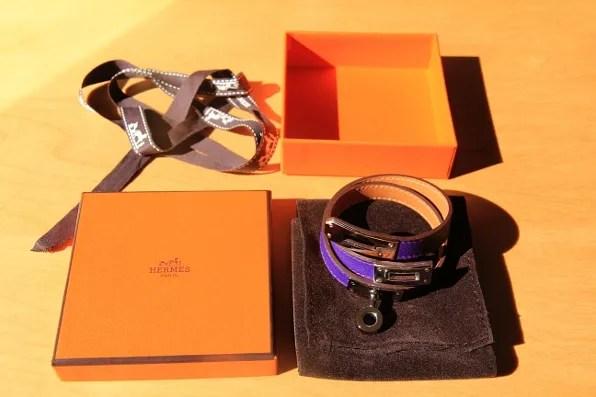 Purple Hermes Kelly Double Tour Bracelet