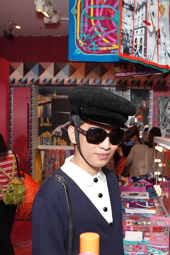 Bryanboy inside Hermes pop-up store, Omotesando Tokyo