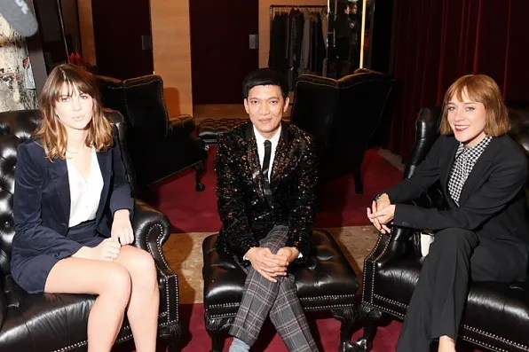 Bryanboy in HUGO sequined jacket with Chloe Sevigny