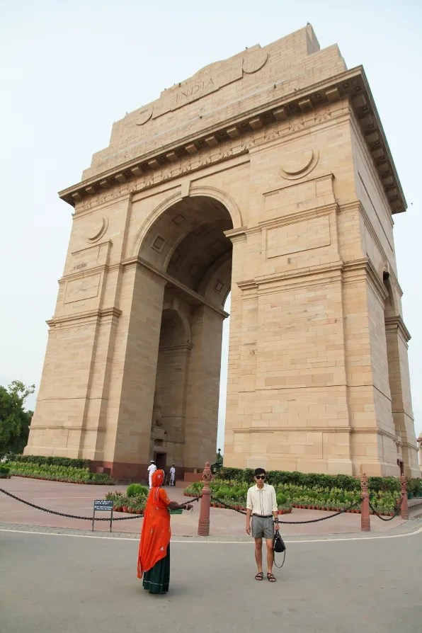 Fashion blogger Bryanboy in front of India Gate in New Delhi, India