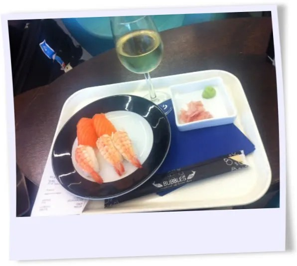 Sushi and Wine at Amsterdam Schiphol airport