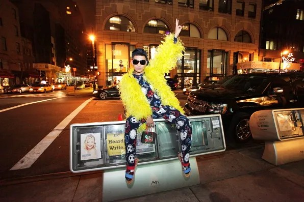 Big Bird's Yellow Feathers worn by Bryanboy