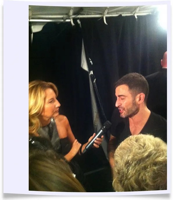 Marc Jacobs giving interviews at the spring/summer 2012 Marc Jacobs fashion show.