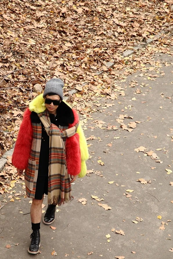 Bryanboy in Central Park wearing a coat from Sonia Rykiel fall/winter 2011