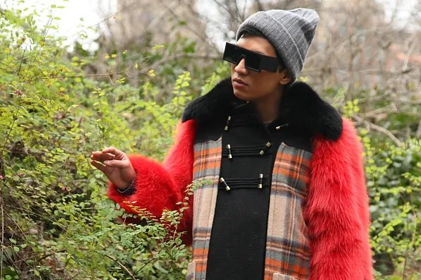 Bryanboy in Central Park touching leaves