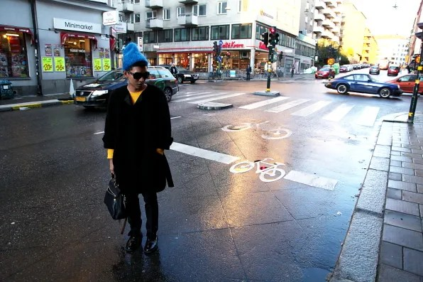 Bryanboy standing at an intersection in Södermalm