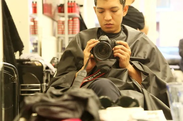 Bryanboy getting his hair color done in Stockholm