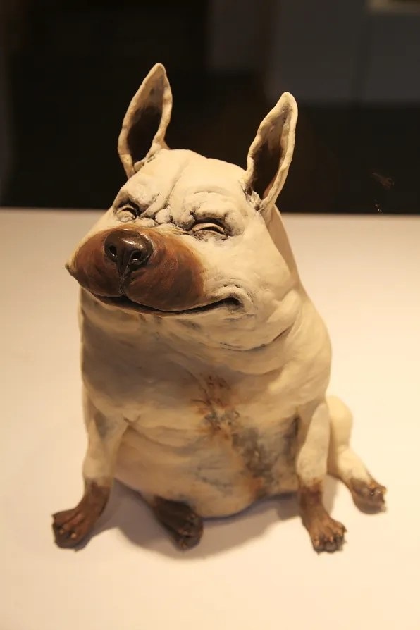 Ceramic dog sculpture