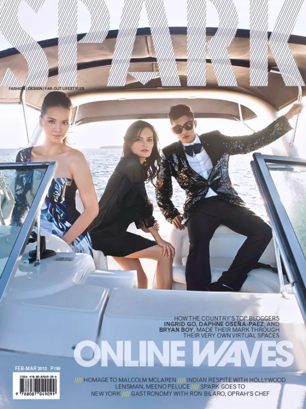 Ingrid Chua Go, Bryanboy and Daphne Osena-Paez on a yacht for Spark Magazine Philippines