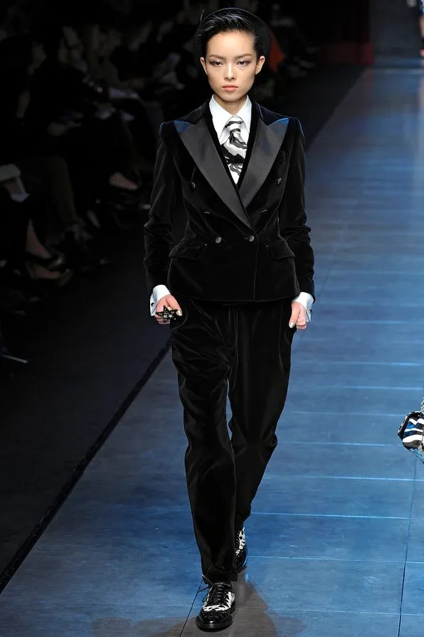 A velvet tuxedo runway look from Dolce & Gabbana fall winter 2011 fashion show