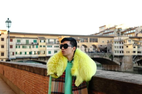 Bryanboy in front of Ponte Vecchio, Florence