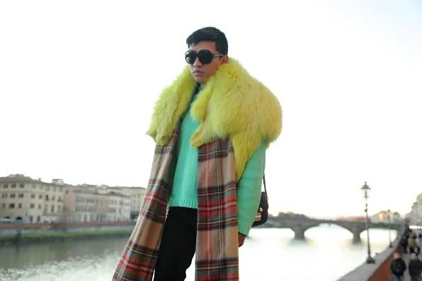 Yellow fox fur scarf