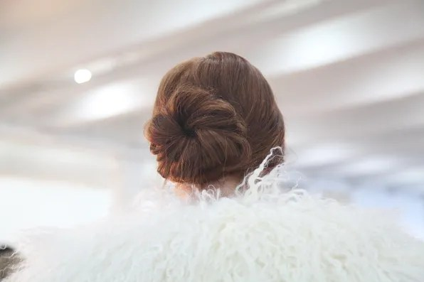 Brown hair bun at Alice + Olivia fall 2012