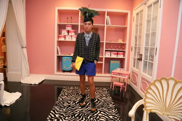 Bryanboy at Anna dello Russo x H&M collaboration press preview at the Eloise Room at the Plaza Hotel, New York