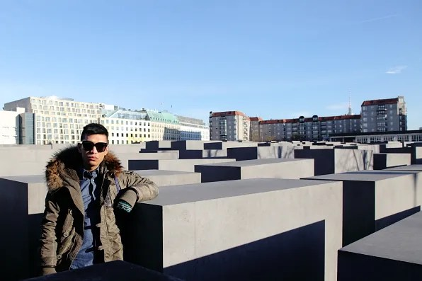 Bryanboy at Holocaust Memorial in Berlin