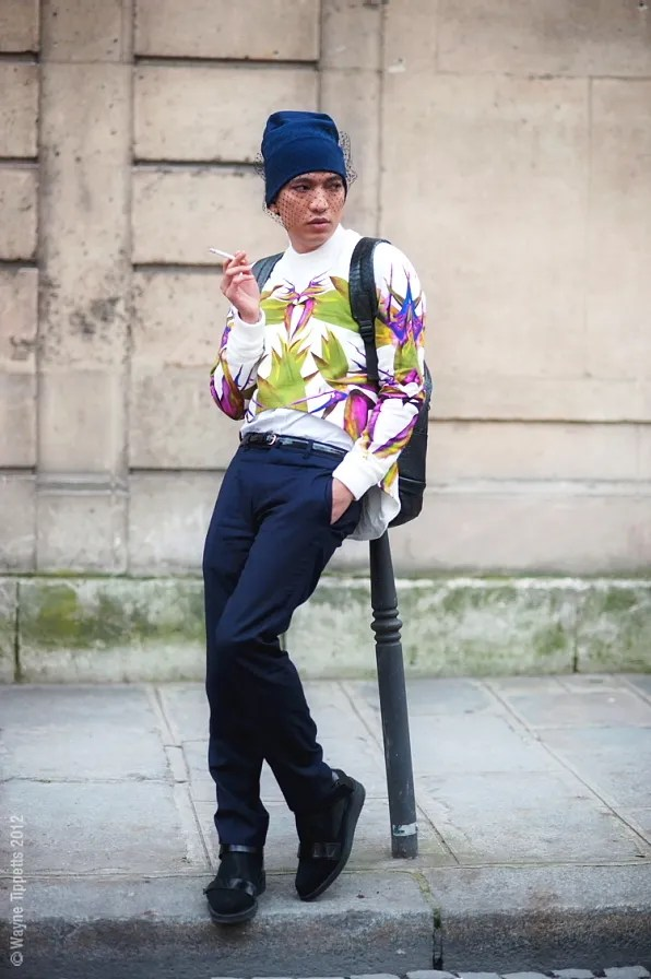 Bryanboy wearing a Givenchy spring summer 2012 sweater after the Martin Margiela show
