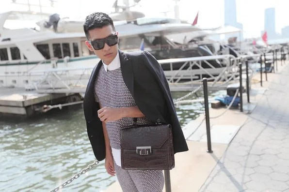 Bryanboy wearing a J Crew tweed top in New York