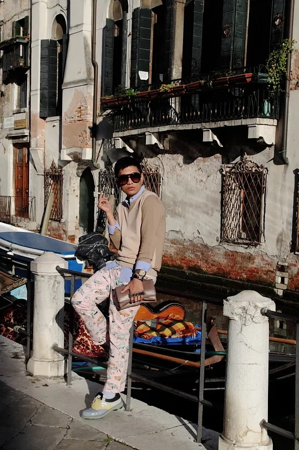 Bryanboy wearing car printed pants from Prada spring summer 2012