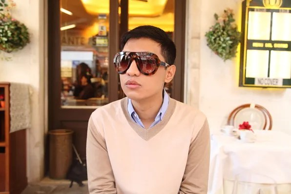Bryanboy having lunch in Venice