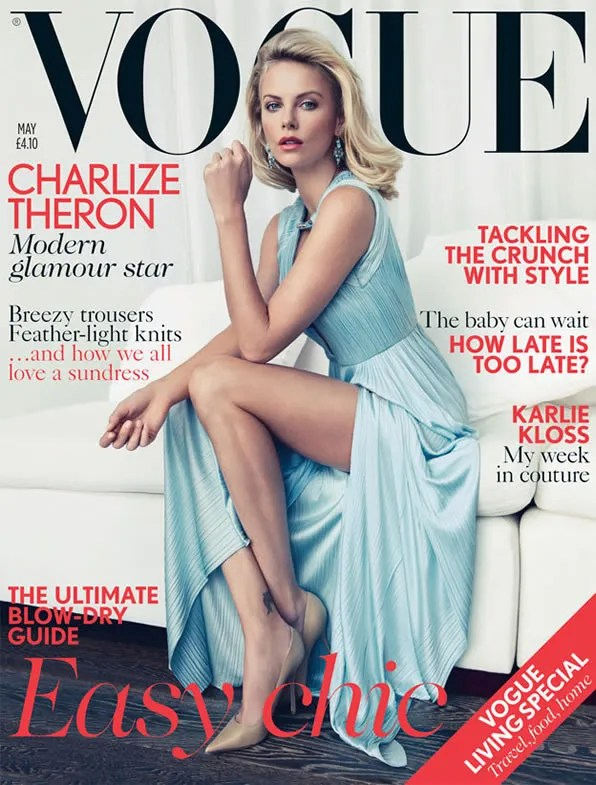 Charlize Theron on the cover of May 2012 issue of British Vogue