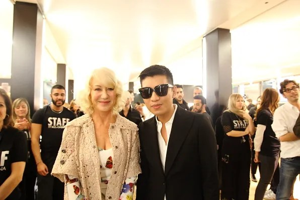 Helen Mirren and Bryanboy backstage at Dolce & Gabbana autumn winter 2012