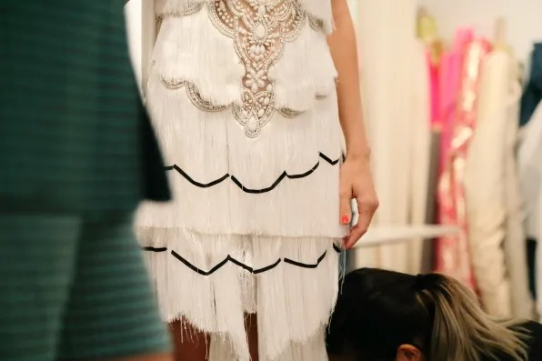 Fringe details of a Marchesa spring summer 2013 dress