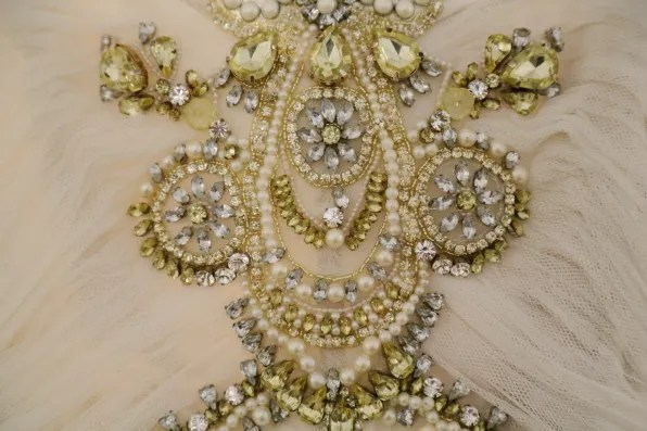 Intricate details of a Marchesa dress from spring summer 2013 collection