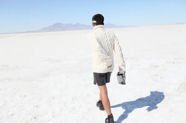 Bryanboy walking at Bonneville Salt Flats, Utah