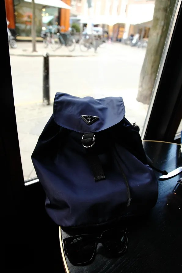Prada backpack in nylon navy blue