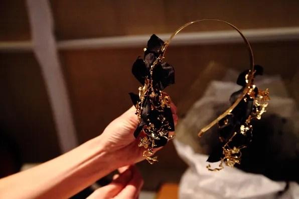 Gold headband by Suzy O'Rourke, milliner