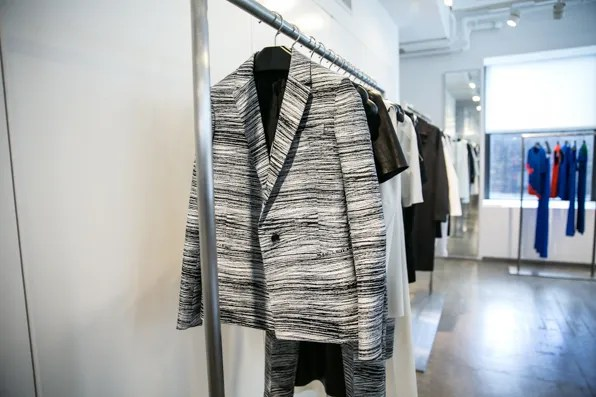 Black and white graphic striped jacket from Calvin Klein Collection