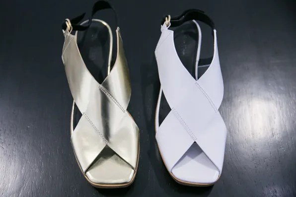 Gold and white leather sandals