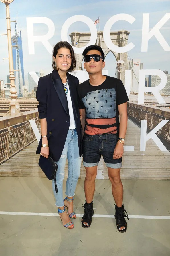 Fashion bloggers Leandra Medine of Manrepeller and Bryanboy at American Eagle Times Square