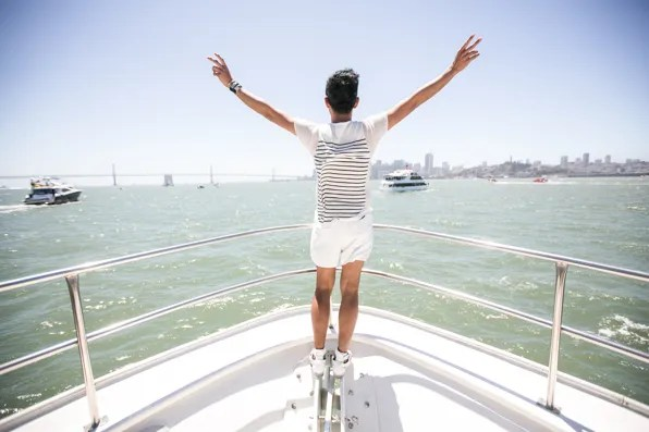 Bryanboy on a yacht in San Francisco Bay