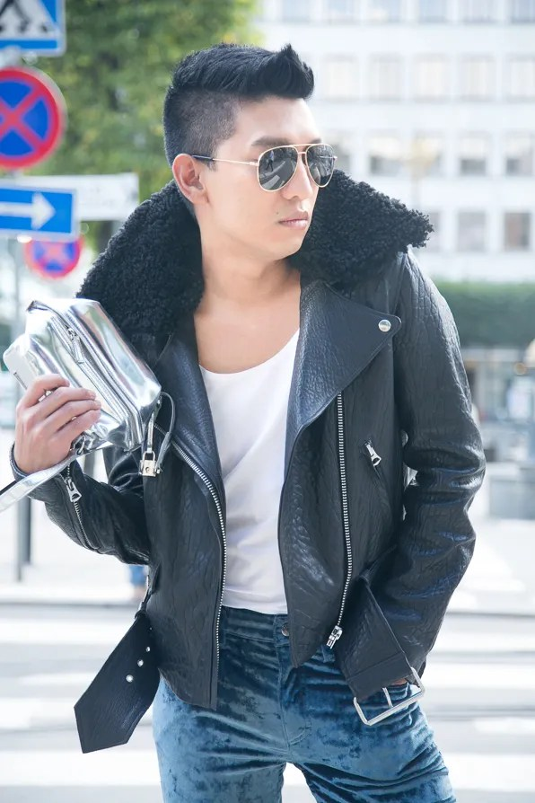 Acne Mape leather biker jacket worn by Bryanboy in Stockholm