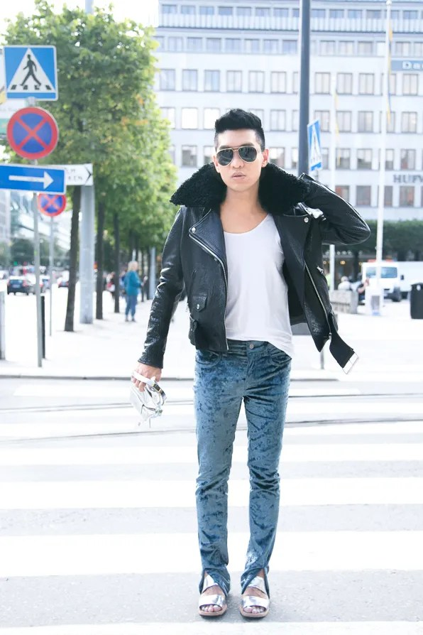 Bryanboy wearing a pair of Acne Orlando crushed velvet trousers