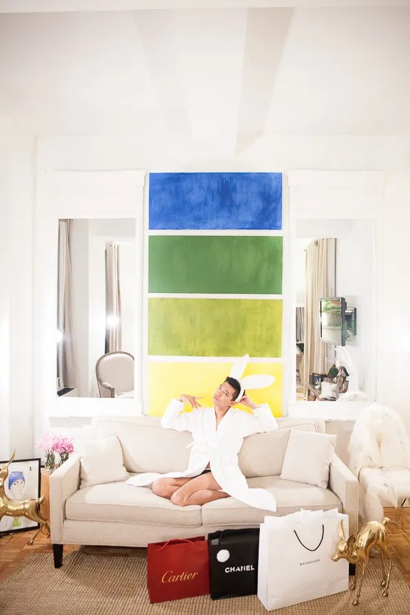 Bryanboy in his New York City apartment on Black Friday
